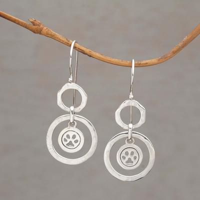 Paw Print Motif Sterling Silver Dangle Earrings From Bali Dancing Paws