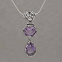 Amethyst pendant necklace, 'Paw Print Sparkle' - Animal-Themed Amethyst Pendant Necklace from Bali