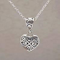Sterling silver pendant necklace, 'Paws of Love' - Heart Shaped Sterling Silver Paw Print Pendant Necklace
