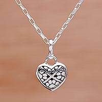 Sterling silver pendant necklace, 'Paw Print Love'