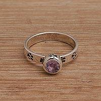 Amethyst single stone ring, 'Pawing Around' - Handmade 925 Sterling Silver Amethyst Cocktail Ring