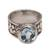 Blue topaz cocktail ring, 'Puppy Patter' - Handmade 925 Sterling Silver Blue Topaz Cocktail Ring (image 2d) thumbail