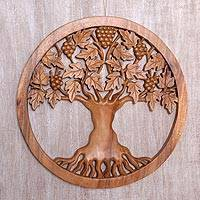 Wood relief panel, 'Grateful Tree' - Hand Carved Suar Wood Tree Wall Relief Panel Indonesia