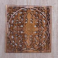 Wood relief panel, 'Bali Flower Spirit' - Hand Carved Floral Wood Wall Art Relief Panel from Bali