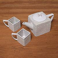 Ceramic tea set, 'White Kawung Wedang' (set for 2) - Textured Square White Ceramic Tea Set from Java