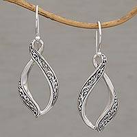 Sterling silver dangle earrings, 'Wind Dance' - Hand Crafted Sterling Silver Scroll Work Dangle Earrings
