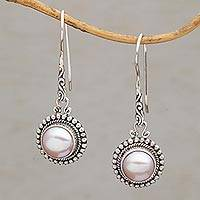 Cultured pearl dangle earrings, 'Enchanted Radiance' - Cultured Freshwater Pearl Dangle Earrings from Bali