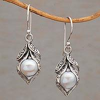 Cultured freshwater pearl dangle earrings, 'Moonlit Petals' - Cultured Freshwater Pearl Dangle Earrings from Bali