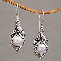 Cultured freshwater pearl dangle earrings, 'Moonlit Petals' - Cultured Freshwater Pearl Dangle Earrings from Bali