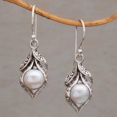 Cultured Freshwater Pearl Dangle Earrings Moonlit Petals
