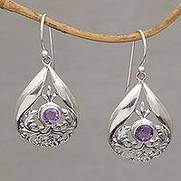 Amethyst dangle earrings, 'Celuk Eternity' - Handmade Amethyst and Sterling Silver Dangle Earrings