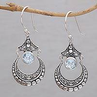 Blue topaz dangle earrings, 'Celuk Crescent' - Handmade Blue Topaz and Sterling Silver Dangle Earrings