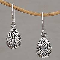 Sterling silver dangle earrings, 'Envelop Eternity' - Hand Crafted Balinese Sterling Silver Dangle Earrings