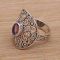 Gold accent amethyst cocktail ring, 'Ornately Regal' - Amethyst in Gold Accented Sterling Silver Cocktail Ring
