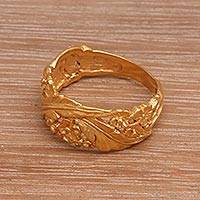 Gold plated cocktail ring, 'Semangi Bouquet' - Hand Crafted 18K Gold Plated Semangi Blossom Ring