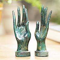 Bronze statuettes, 'Hands of a Goddess' (pair) - Pair of Handcrafted Balinese Bronze Goddess Hand Statuettes
