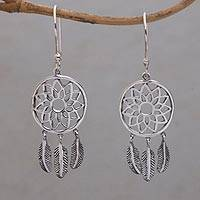 Sterling silver dangle earrings, 'Protector of Dreams' - Handmade Sterling Silver Dream Catcher Dangle Earrings