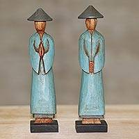 Wood sculptures, 'Farmer Greetings' (pair) - Handmade Albesia Wood Sculpture Pair Indonesian Farmer
