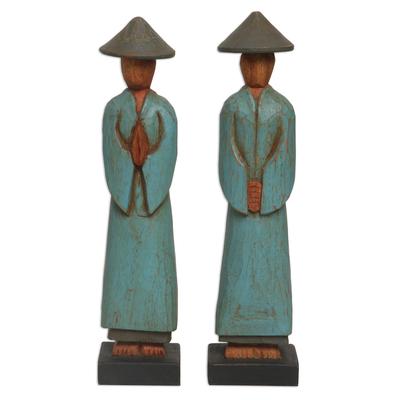 Wood sculptures, 'Farmer Greetings' (pair) - Handmade Albesia Wood Sculpture Pair Indonesian Farmer