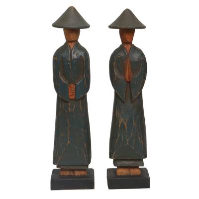 Wood statuettes, 'Agrarian Duo' (pair) - Hand Carved Dark Green Robed Wood Farmer Statuettes (Pair)