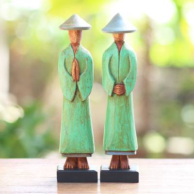Wood statuettes, 'Companions' (pair) - Hand Carved Green Robed Wood Farmer Statuettes (Pair)
