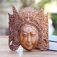 Wood mask, 'Cili' - Handmade Indonesian Suar Wood Mask from Bali