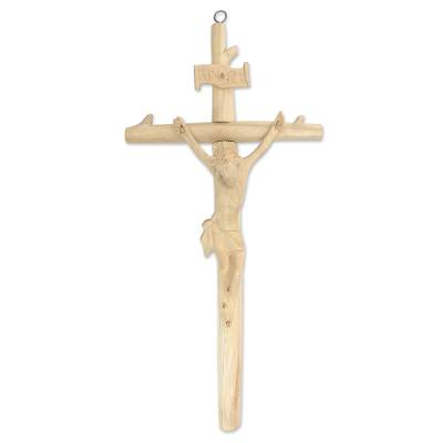 Wood wall cross, 'Crucifixion' - Crocodile Wood Wall Sculpture of Jesus on the Cross