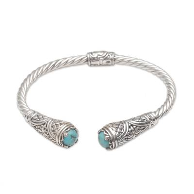 Fair Trade Blue Reconstituted Turquoise Sterling Silver Cuff Bracelet