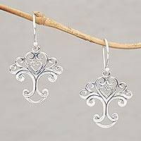 Sterling silver dangle earrings, 'Loving Tree' - Handmade Sterling Silver Tree Earrings from Indonesia