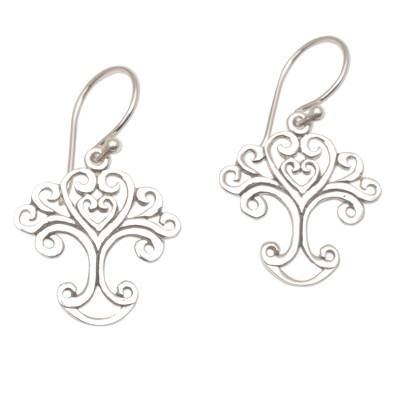 Handmade Sterling Silver Tree Earrings from Indonesia