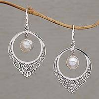 Cultured pearl dangle earrings, 'Fair Daydream' - Handmade 925 Sterling Silver Cultured Mabe Pearl Earrings