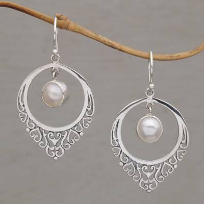 Cultured pearl dangle earrings, 'Fair Daydream' - Handmade 925 Sterling Silver Cultured Mabe Pearl Earrings