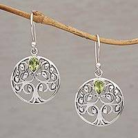 Peridot dangle earrings, 'The Living Tree' - Handmade 925 Sterling Silver Peridot Dangle Earrings