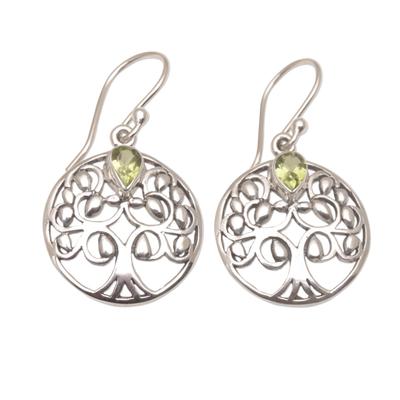 Handmade 925 Sterling Silver Peridot Dangle Earrings