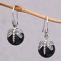 Onyx dangle earrings, 'Dragonfly Eclipse' - Onyx Dragonfly Dangle Earrings from Indonesia