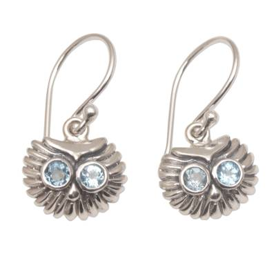 Petite Sterling Silver and Blue Topaz Owl Earrings