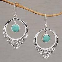 Sterling silver dangle earrings, 'Fair Daydream' - Handmade 925 Sterling Silver Reconstitute Turquoise Earrings