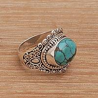 Sterling silver cocktail ring, 'Celuk Sky' - Balinese Reconstituted Turquoise Cocktail Ring