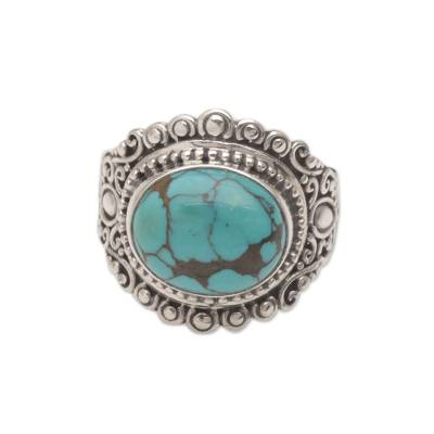Balinese Reconstituted Turquoise Cocktail Ring