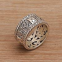Sterling silver band ring, 'Valley of the King' - Handmade 925 Sterling Silver Floral Motif Band Ring