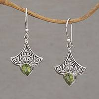 Peridot dangle earrings, 'Slow Dance in Green' - Handmade Peridot 925 Sterling Silver Earrings Indonesia