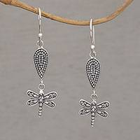 Sterling silver dangle earrings, 'Free Flying' - Handmade 925 Sterling Silver Dragonfly Dangle Earrings