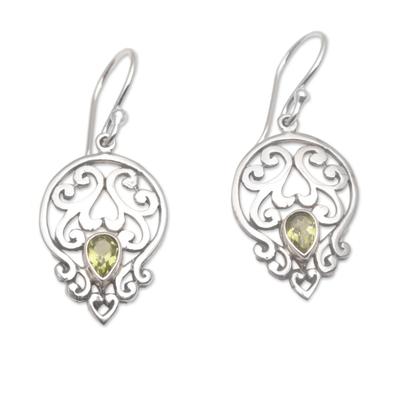 Handmade 925 Sterling Silver Green Peridot Dangle Earrings