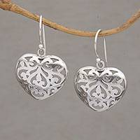 Sterling silver dangle earrings, 'Caged Heart' - Handmade 925 Sterling Silver Heart Shaped Dangle Earrings