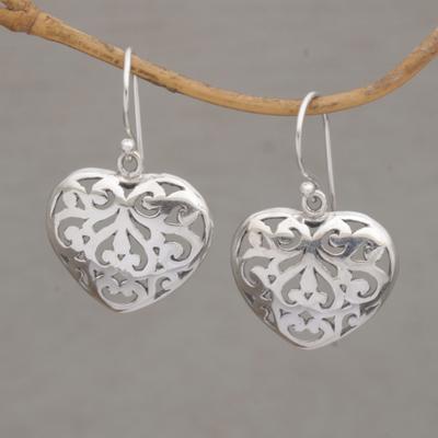 Sterling Silver Dangle Earrings Caged Heart Handmade 925 Shaped