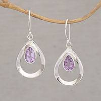 Amethyst dangle earrings, 'Cool Raindrops' - Handmade Amethyst 925 Sterling Silver Dangle Earrings