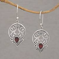 Garnet dangle earrings, 'Dialogue in Red' - Handmade 925 Sterling Silver Green Garnet Dangle Earrings