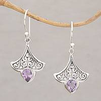Amethyst dangle earrings, 'Slow Dance' - Handmade 925 Sterling Silver Amethyst Dangle Earrings Bali