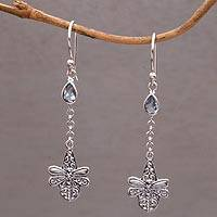 Blue topaz dangle earrings, 'Dragonfly Altar' - Handmade 925 Sterling Silver Blue Topaz Dragonfly Earrings