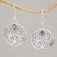 Amethyst dangle earrings, 'Banyan Beauty' - Balinese Amethyst and Sterling Silver Tree Dangle Earrings